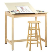 Diversified Woodcrafts DT-60SA UV Finish Solid Maple Wood Art/Drafting Table with 2 Piece Top, Plastic Laminate Top, 110cm Width x 100cm - 1.9cm Height x 80cm Depth