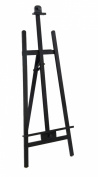 Displays2Go Adjustable Black Finish Wood Studio Artist Easel with Non-Skid Rubber Feet