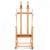 Studio Easel for Extra-large Canvases, Beech Wood Floor Easel with Locking Wheels, Tilting Design, Accessories Tray