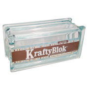 KraftyBlok 113, Glass Crafting Block 10cm by 20cm Rectangle with Round Opening and Plastic Cap, Clear