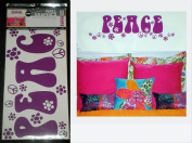 """Hip in a Hurry Peel-n-Stick Purple Wall Words and Peace Sign Graphics """"PEACE"""""""