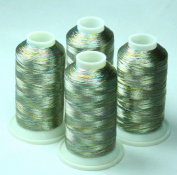 ThreadsRus 4 MULTICOLOR METALLIC MACHINE EMBROIDERY THREAD CONES