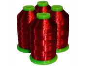 4-cone Metallic Polyester Core Embroidery Thread Kit - RED - 1100 yards - 40wt