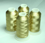 NEW ThreadNanny 4 WHITE GOLD METALLIC MACHINE EMBROIDERY THREAD CONES