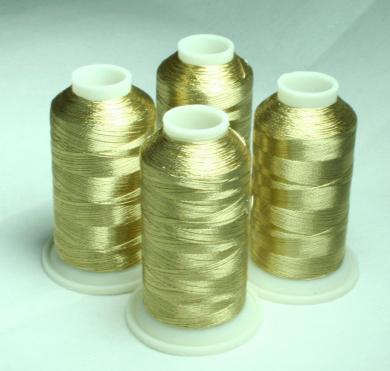 NEW ThreadNanny 4 WHITE GOLD METALLIC MACHINE EMBROIDERY THREAD CONES