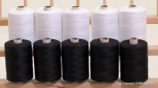 New ThreadNanny 10 LARGE BLACK & WHITE Spools of HEAVY DUTY 3-PLY Polyester QUILTING SERGER SEWING Threads