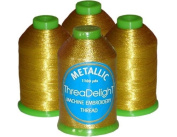 4-cone Metallic Polyester Core Embroidery Thread Kit - Antique Gold - 1100 yards - 40wt