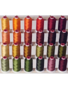 24-cone Polyester Embroidery Thread Kit - 24 Fall colours - 1100 yards - 40wt