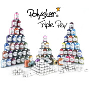 """Polystar Triple Play Embroidery Thread Package w/ 42 Country Colour 1,100 Yard Embroidery Threads, 23 Nick Colour 1,100 Yard Embroidery Threads and FREE!!! 144 Prewound Bobbins Style """"M"""""""