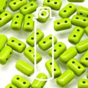 Opaque Green 3x5mm Rulla Glass Beads