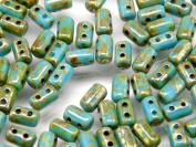Czech Glass Two-Hole Seed Beads RULLA 3x5mm 20gram TURQUOISE BLUE PICASSO