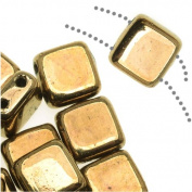 CzechMates Glass 2-Hole Square Tile Beads 6mm - Bronze