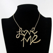 New Coming Gold Love Me Rhinestone Fashion Choker Necklace for Lovers