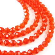 Crystal Glass Beads 4mm Round Faceted, Red Colour