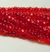 Light Ruby Red Silver Lined Czech 6/0 Seed Bead on Loose Strung 6 String Hank Approx 900 Beads