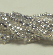 Clear AB Silver Lined Czech 6/0 Seed Bead on Loose Strung 6 String Hank Approx 900 Beads