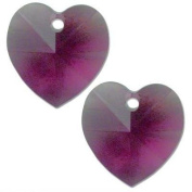 2 Amethyst. Crystal Heart Pendant 6202 14mm