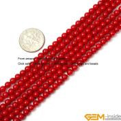 Gem-Inside Round Red Coral Beads Strand 38cm