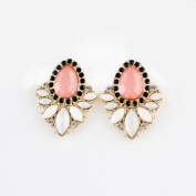 Designer Jewellery New Coming Fashionable Gold Colour Alloy Pink White Big Imitation Gemstone Drop Earring for Women