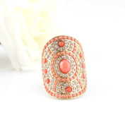 Costume Jewellery Fashionable Hot Selling Aulic Style Gold Colour Alloy Red Imitation Gemstone Beads Elastic Rings for Women