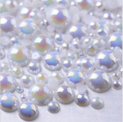 LOVEKITTY TM 600 Pcs AB White Mixed Sizes Flatback Pearl Cabochon