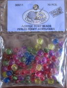 Create A Craft Acrylic PONY BEADS 70 Pieces Various Colours
