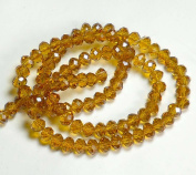6x4mm Topaz Brown Lustre Crystal Glass Faceted Fluted Fluted Machine Cut Rondelle Beads. Approx 100 Piece 16 Inches of Beads