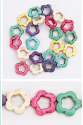 1 Strand Flat Colourful FlowerTurquoise Loose Beads 19mm D0393