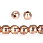 Rose Gold Plated Copper Bead Plain Round Approx. 2mm Approx. 8 inch