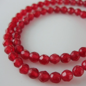 Red Jade Beads - Faceted Round 4mm