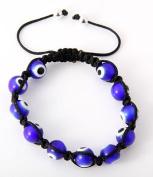 Evil Eye Blue Hamsa Bead Shamballa Style Inspired Bracelet 7.4mm