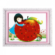 Girl Apple Shaped Digital Clock Printed Stamped Cross Stitch Counted Kit for Woman