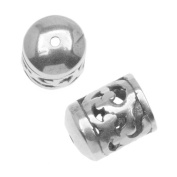 Antiqued Silver Plated Bead/Cord End Caps Openwork Vine Pattern 11x8.5mm