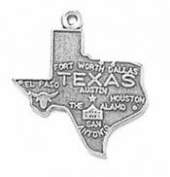 Sterling Silver Texas State Charm with Split Ring