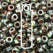 Picasso Red Brown Trans 22 Grammes Miyuki Round Rocailles 8/0 Seed Bead Approx 22 Gramme Tube