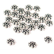 25 Sterling Silver Bali Spacer Daisy Beads Flower 4mm