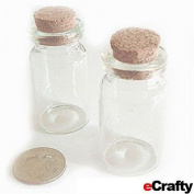 "Small Glass Bottles Pendants Vials 40mm 1.5"" 2pc Message Charms Crafts Weddings"