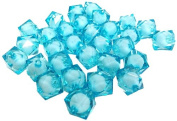 Fiona Acrylic Faceted Square Shape Transparent Beads, 12mm, Turquoise