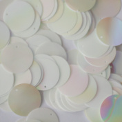 20mm Round SEQUIN PAILLETTES ~ SHINY WHITE Bright RAINBOW IRIS ~ Loose sequins for embroidery, bridal, applique, arts, crafts, and embellishment. Made in USA.