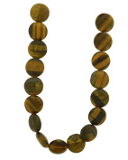 Tennessee Crafts 1438 Semi Precious Tiger Eye Flat Lentil 19-Piece Beads, 10 by 3mm, Yellow