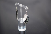 New Stainless Steel Silvertone Fashion Jewellery Oval Dangle Earrings