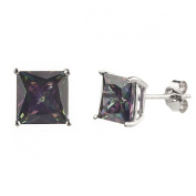 New 925 Sterling Silver Cz Square Princess Cut Multi Colour Stud Earrings-7mm