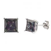 New 925 Sterling Silver Cz Square Princess Cut Multi Colour Stud Earrings-7mm