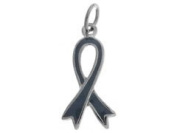 Sterling Silver Grey Enamelled Awareness Ribbon Charm