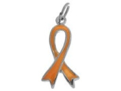 Sterling Silver Gold Enamel Awareness Ribbon Charm