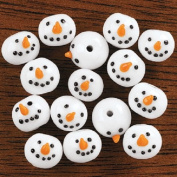 Lot of 50 Glass Snowman Beads Kids Christmas Crafts Jewellery
