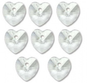 14mm Preciosa Czech Crystal Faceted Drop Heart Clear Beads 498 68 301 Package of 8