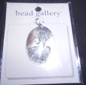 Bead Gallery Hand Carved 30x40mm Pendant Natural Shell Woman's Face