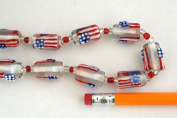July 4th Patriotic Lampwork U.S. Flag Clear Cylinder Glass Beads