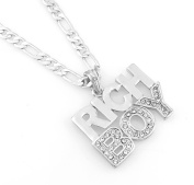 Hip-Hop Iced Silver Tone Rich Boy Pendant Necklace Free 60cm chain
